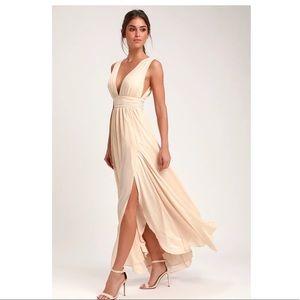 Lulus | Heavenly Hues Cream Maxi Dress